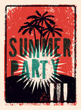 Typographic Summer Party grunge retro poster design. Vector illustration. Eps 10. Royalty Free Stock Images