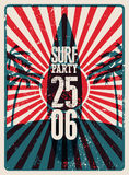 Typographic Surf Beach Party grunge retro poster design. Vector illustration. Eps 10. Stock Photography