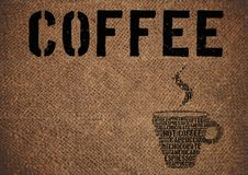 Typographic symbol coffee on sacking Royalty Free Stock Images