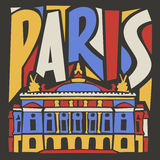 Typographic touristic hand drawn paris city. Poster royalty free illustration