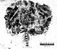 Free Typographic Tree In Black And White For Martin Luther King Day Stock Photo - 207311660