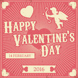 Typographic Valentine's Day Retro Background. Vintage Vector des. Ign greetings card or poster Royalty Free Stock Image