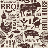 Typographic Vector Barbecue Seamless Pattern Or Background Stock Photography