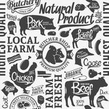 Typographic vector butchery seamless pattern or background Stock Photos