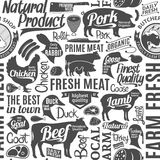 Typographic vector butchery seamless pattern or background Royalty Free Stock Photography