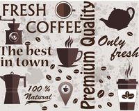 Typographic vector coffee shop. Mugs, beans and coffee equipment icons for coffeehouse, espresso bar, restaurant, cafe, packaging, Royalty Free Stock Photos