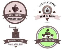 Typographic vector coffee shop. Mugs, beans and coffee equipment icons for coffeehouse, espresso bar, restaurant, cafe, packaging, Royalty Free Stock Photo