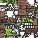 Typographic vector coffee and tea seamless pattern or background. Mugs, beans and equipment icons for coffeehouse, espresso bar, restaurant, cafe, packaging vector illustration