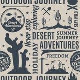 Typographic vector desert adventures seamless pattern or backgro Stock Photos
