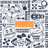 Typographic vector fitness gym seamless pattern or background Stock Photos
