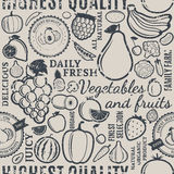 Typographic vector fruits and vegetables retro styled seamless p Stock Images