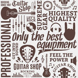 Typographic vector guitar shop seamless pattern. Or background. Music icons for audio store, poster, advertising, branding and identity stock illustration