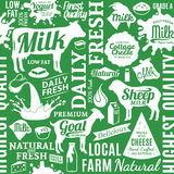 Typographic vector milk product seamless pattern or background. Dairy product icons collection for groceries, agriculture stores, packaging and advertising Royalty Free Stock Photos