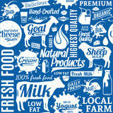 Typographic vector milk product seamless pattern or background. Dairy product icons collection for groceries, agriculture stores, packaging and advertising Royalty Free Stock Photography