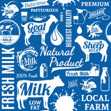 Typographic vector milk seamless pattern or background Royalty Free Stock Photography