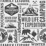Typographic vector mountain and outdoor adventures seamless patt Stock Photos