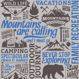 Typographic vector mountain and outdoor adventures seamless patt. Ern or background. Tourism, hiking and travel icons for tourism organizations, outdoor events Stock Illustration