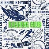 Typographic vector running club seamless pattern or background Royalty Free Stock Photos