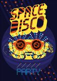 Typographic vintage Space Disco Party poster design. Retro vector  Stock Photo