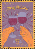 Typographic vintage style Christmas card or poster design with clink glasses.  Stock Photos