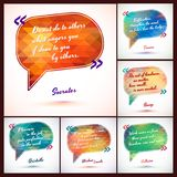 Typographical Background Illustration with quotes pack. Clever idea from the wise, motivating phrase Stock Photos
