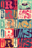 Typographical drums vintage style poster. Retro grunge vector illustration. Stock Images