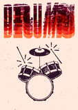 Typographical drums vintage style poster. Retro grunge vector illustration. Royalty Free Stock Images