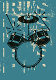 Typographical drums vintage style poster. Retro grunge vector illustration. Stock Photo