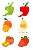 Typographical fruits. Organic fruits concept was created with typographic design Stock Photography