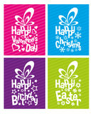 Typographical Gift Boxes. Vector gift boxes for special events Royalty Free Stock Photography