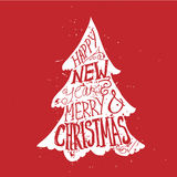 Typographical greeting card. Christmas tree. Stock Photo