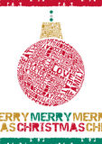 Typographical Merry Christmas Bauble. Royalty Free Stock Photos