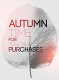 Typographical poster for autumn sales. Autumn design with leaf silhouette on background. Vector illustration. Stock Photography