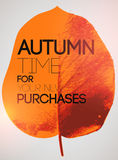 Typographical poster for autumn sales. Autumn design with leaf silhouette on background. Vector illustration. Stock Images