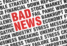 Typographical print of Bad News. With angled uppercase text expressing failure, crisis, panic, fear of the economy and industry with the words BAD NEWS Royalty Free Stock Images