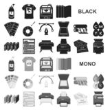 Typographical products black icons in set collection for design. Printing and equipment vector symbol stock web royalty free illustration