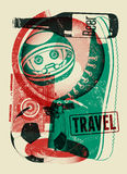Typographical retro grunge podróży plakat również zwrócić corel ilustracji wektora Zdjęcie Stock