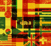Typographical retro grunge world poster with flags. Vector illustration. Stock Photos