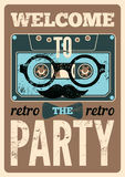 Typographical Retro Party poster design with funny audio cassette hipster character. Vintage vector illustration. Stock Photo