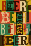 Typographical rocznika stylu piwa przyjęcia plakatowy projekt retro ilustracyjny wektora Fotografia Royalty Free