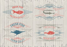 Typographical set of fish - vector. Logo, badge or label design template Stock Photos
