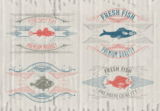 Typographical set of fish - vector. Logo, badge or label design template Stock Image