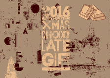 Typographical vintage Christmas Chocolate Gift poster design. Retro grunge vector illustration. Royalty Free Stock Photo