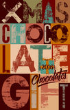 Typographical vintage Christmas Chocolate Gift poster design. Retro grunge vector illustration. Typographical vintage Christmas Chocolate Gift poster design Royalty Free Stock Photo