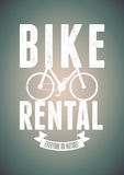 Typographical vintage design for bike rental with grunge effect. Vector illustration. Royalty Free Stock Image