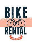 Typographical vintage design for bike rental with grunge effect. Vector illustration. Stock Photo