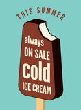 Typographical vintage ice cream poster. Retro vector illustration. Stock Photography