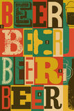 Typographical vintage style Beer poster design Royalty Free Stock Images