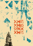 Typographical vintage style Christmas card or poster design. Retro grunge vector illustration. Royalty Free Stock Image