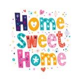 Typographie à la maison douce à la maison marquant avec des lettres le texte décoratif Photo stock